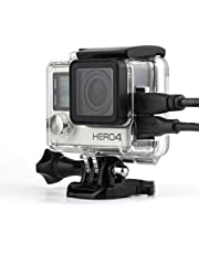 Nechkitter Skeleton Housing For GoPro Hero4 Hero3+ Hero 3, Side Wire Connectable (AV,USB cable), Side Open Housing Case with Hollow Bckdoor and Lens