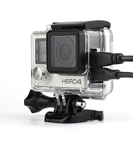 Nechkitter Side Open Housing For GoPro Hero4 Hero3+ Hero 3 cameras side wire connectable Case (AV,USB cable) Large button Skeleton With Hollow bckdoor and (Skeleton Button)