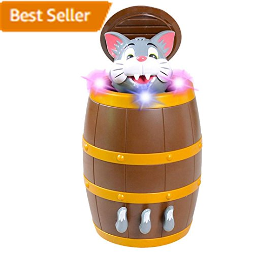 Surprise Cat in Electric Music Pirates Barrel Gag Gift Practical Joke Prank Toy for Kids (Gray) (Spiele Halloween Party)