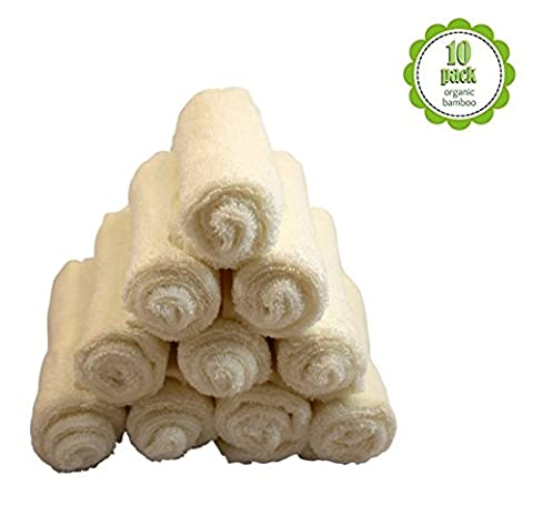 Washcloths Superior Luxury Organic Bamboo Super Soft by My Little Sweet Pea (Pack of 10) (Ivory) - Sweet Pea Baby Shower