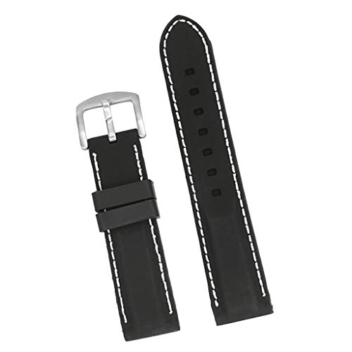(Prettyia Men Black Silicone Rubber Replacement Sport Watch Band Strap with Stitching - Black + White, 20mm)