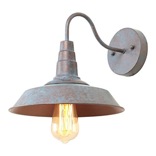 (LALUZ 1-Light Wall Sconce Distressed Blue and Bronze Tiffany Gooseneck Barn Light Fixture, 10.2 inches)