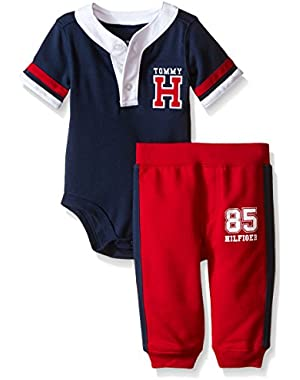 Tommy Hilfiger Baby Boys' Solid Interlock Bodysuit and Solid French Terry Pants