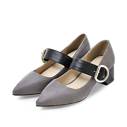 Buckle Odomolor Shoes Toe Color Assorted Pumps Heels PU Women's Kitten Gray 35 Pointed 44Ow5qr