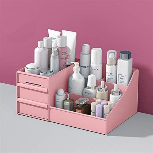LVYI 引き出し型化粧品収納ボックス寮仕上げスキンケアデスクトップが表に口紅がプラスチックボックスラックマスクドレッシング (Color : Pink)