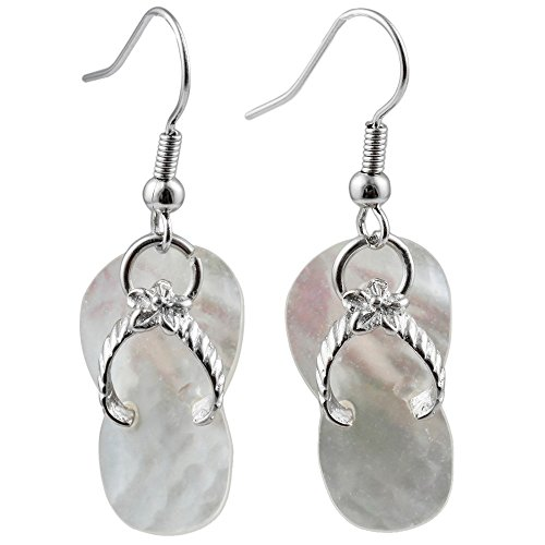 Abalone Pearl Hook Earrings - Liavy's Flip-Flop Sandals Fashionable Shell Earrings - Fish Hook - Mother of Pearl Shell