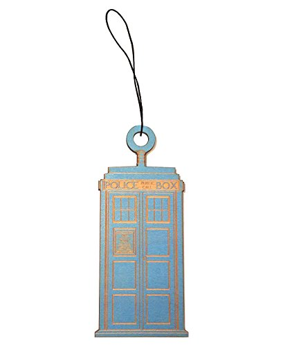 Hat Shark Police Box Time and Space Travel Machine Parody Laser Engraved Wooden Rear View Mirror Charm Dangler