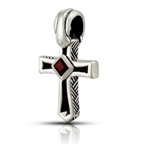 WithLoveSilver 925 Sterling Silver Cross Natural Garnet Stone Pendant