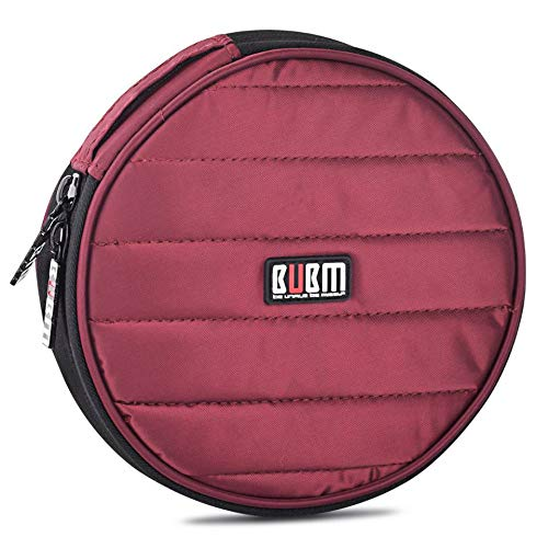 BUBM Portable Round 32 CD Disc Storage Case Bag Heavy Duty CD/DVD Wallet for Car, Home, Office and Travel (Red)