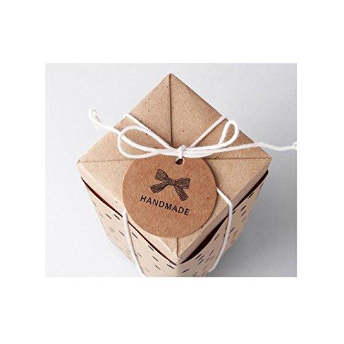 Sunnyshinee aprox forma redonda 100 etiquetas de papel kraft para colgar con agujeros hechas a mano
