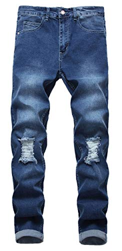 Qazel Vorrlon Men's Slim Fit Black Stretch Destroyed Ripped Skinny Denim Jeans W29,Dark Blue