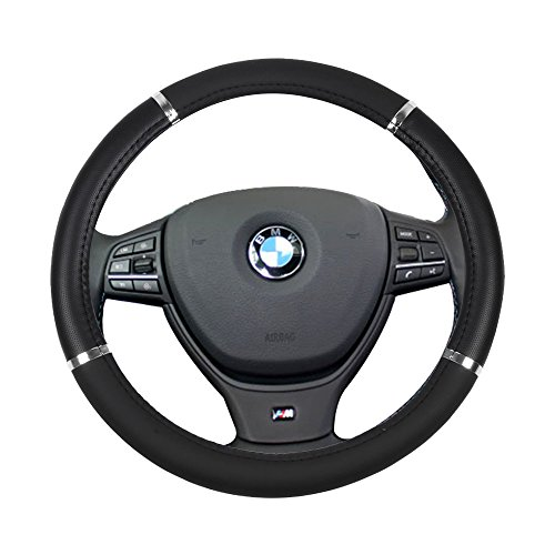 lver Universal 15 Inch Steering Wheel Cover Leather Protection Breathable Grip Steering Wheel Cover ()