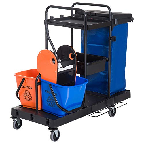 HOMCOM schoonmaakwagen reinigingswagen veegwagen systeemwagen met 4 licht lopende wielen zwart + blauw + oranje 111 × 63…
