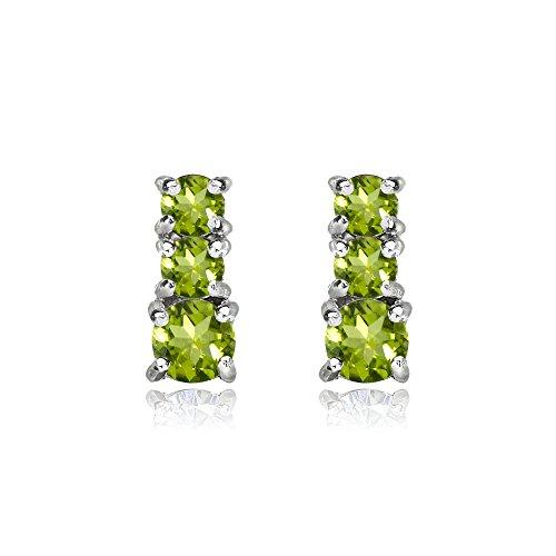 Sterling Silver Peridot Round Graduating Three Stone Stud Earrings ()