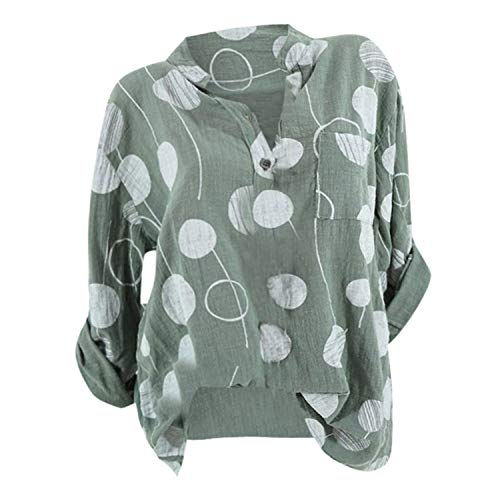 (TIFENNY Plus Size Shirt for Women Spring Casual Big Dot Print Long Sleeve Button Blouse Tops 2019 New)