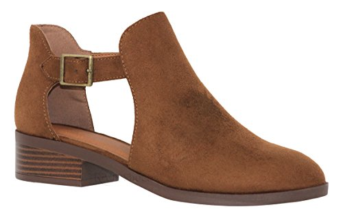 SODA Women's Tassels Braided Straps Stacked Block Heel Ankle Booties Sprint Cognac Size 10]()