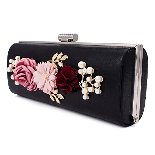 Evening Solid Clutch Beads Delicate Darama Bag Womens Gold Flowers wXnA4