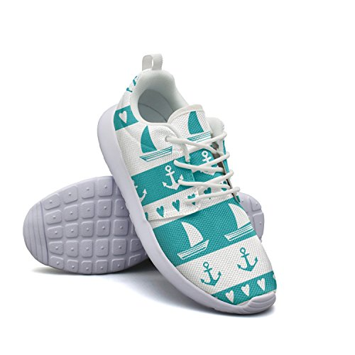 Fashion Sneaker Anchor Hiking Seamless Women's Breathabl Sailboat tayedass Shoe Running Anchor Pattern Lightweight Hear Athletic IA7W0gw