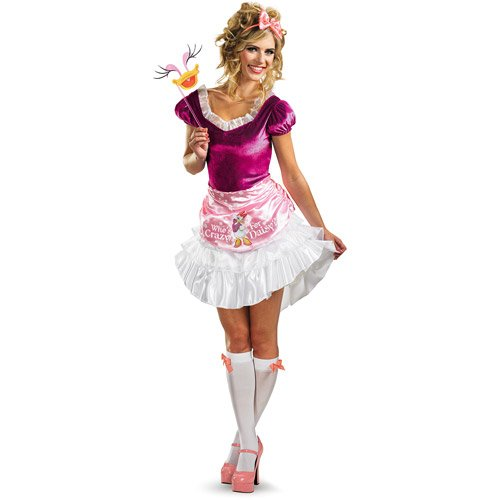 [Disguise Unisex Adult Sassy Daisy Duck, White/Pink/Fuchsia, Medium (8-10) Costume] (Duck Costumes Adult)