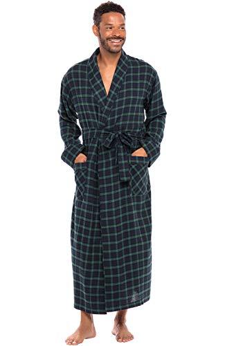 Alexander Del Rossa Men's Lightweight Flannel Robe, Soft Cotton Kimono, Small Blue and Green Plaid (A0707P23SM)