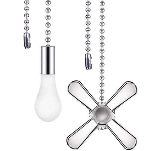 (Tatuo 2 Pieces Metal Fan and Light Bulb Shaped Pull Chain Set with Connector, 1 Meter Length, Silver)