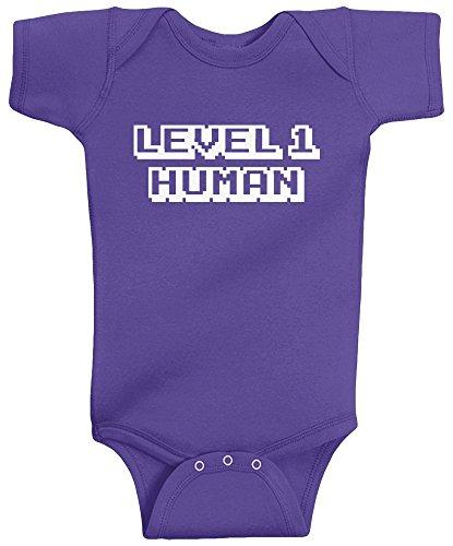 Threadrock Baby Girls' Level 1 Human Infant Bodysuit 12 Months Purple -
