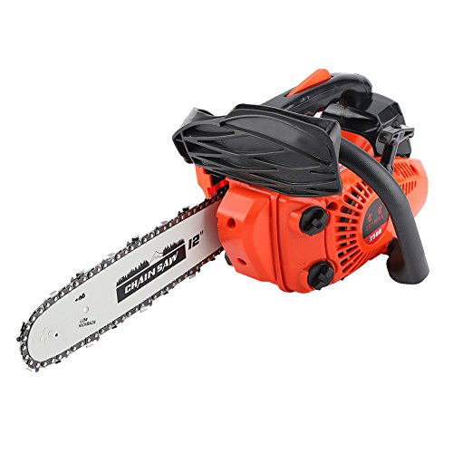 "GLOGLOW 12"" Cordless Gas Chainsaw Petrol Gasoline Chain Saw Wood Cutting Grindling Machine with Tool Kit Such as Scythe, Screwdriver, Guide Plate"