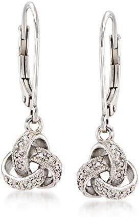 Ross-Simons Diamond-Accented Love Knot Drop Earrings in Sterling Silver
