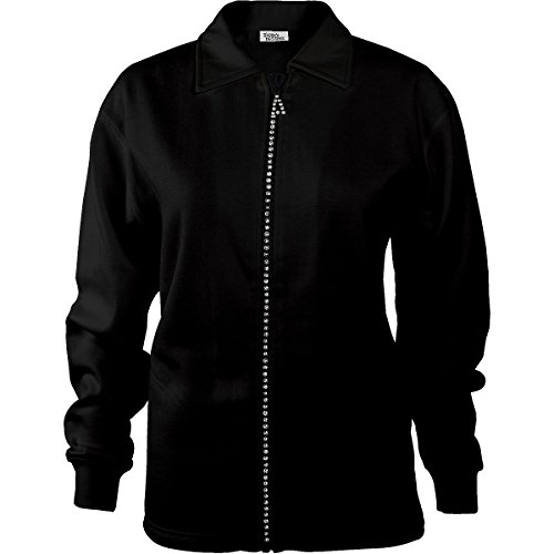 (Fleece Lined Rhinestone Zip Jacket Cardigan Multiple Color Options (Black, Lg))