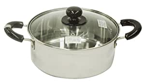 Say full stainless steel with glass lid both hands pan 20cm H-1452 (Japan import / The package and the manual are written in Japanese)