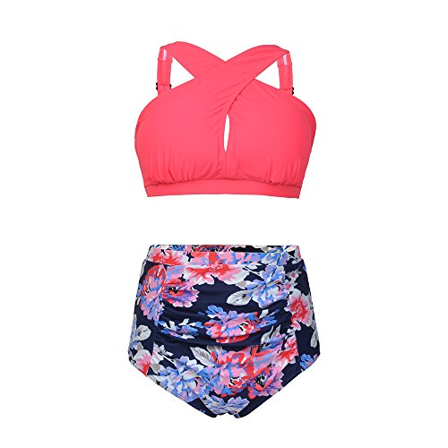 Dreaweet Vintage Women's Plus Size High Waist Floral Front Cross Bikini Swimsuit (Large, Fluorescent (Plus Size Bathing Suits)