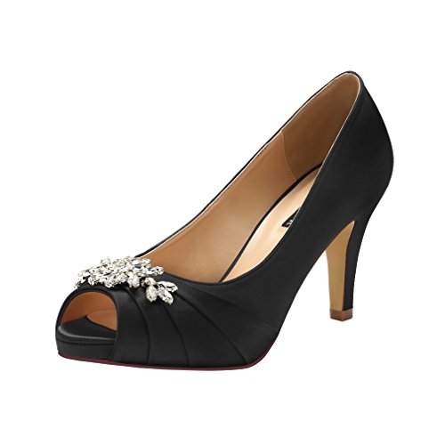 ERIJUNOR E0055 Peep Toe Mid Heels for Woman Rhinestones Satin Evening Prom Wedding Shoes Black Size 8.5