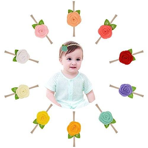 Prohouse 10PCS Baby Nylon Headbands Hairbands Hair Bow Elastics for Baby Girls Newborn Infant Toddlers Kids (2