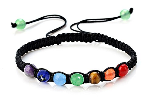 PWMEN Buddha,7 Chakra Healing Bracelet with Real Stones Mens Womens Bracelet,Energy Beads,Mala Meditation Bracelet(6MM)