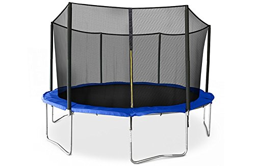 JumpSport SkyBounce Trampoline with Safety Enclosure — Includes Spring Pad (14')