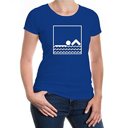 buXsbaum Girlie T-Shirt Swimming-Pictogram-XXL-Royal-White (Schwimmen-trikots)