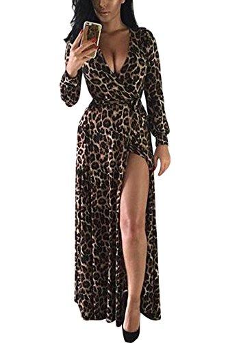 La Mujer De Manga Larga Con Estampado De Leopardo Sexy V Profunda Vestido Maxi Vestido De Hendidura Lateral Leopard