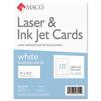 Microperforated Business Cards, 2 x 3 1/2, White, 2500/Box by KOH-I-NOOR