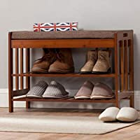 Zzaini Natural Bamboo Shoe Rack Storage Bench Cushion Upholstered Padded 2-Tier Shelf Entryway Shoe Organizer Linen Shoe Stool-A 70x30x50cm