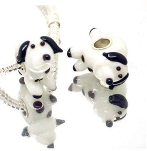 Pendant Jewelry Making Puppy Dog 3D Animal Lampwork Glass 22mm Single Core Large 5mm Hole Charm Bead