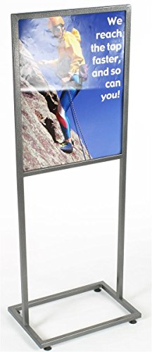 Displays2go Free-Standing Metal Sign Frame for 22 x 28 Inches Graphics, Top Loading, Floor Poster Holder with Floor Levelers Charcoal-Speckled Finish, Metal (TWN2228CHA)