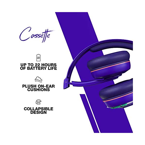 Skullcandy Cassette Wireless On-Ear Headphone with Mic (Retro/Surf/Purple) 2021 August Bluetooth wireless technology Up to 22 hours of battery Collapsible Design, Removable aux cord