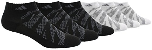 adidas Boys / Youth Tiger Style Cushioned Low Cut Socks (6-Pack), Black, 13C-4Y