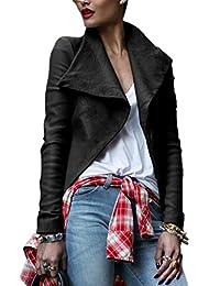 YACUN Women's Long Sleeve Turn Down Collar Leather Moto Jacket