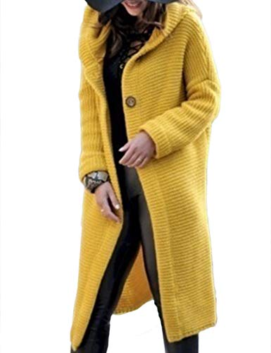 Cable Ladies Coat Knit Sweater - Women's Oversize Hooded Knit Trench Coat Cardigan Wool Cable Knit Longline Sweater Trench Jacket(YE-3XL)