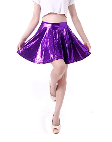 HDE Women's Casual Fashion Flared Pleated A-Line Circle Skater Skirt (Purple, -