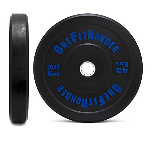 Cheap Contrast Lettering Olympic Bumper Plate Pairs by OneFitWonder/10lb – 55lb Recycled Rubber for Weightlifting (45)