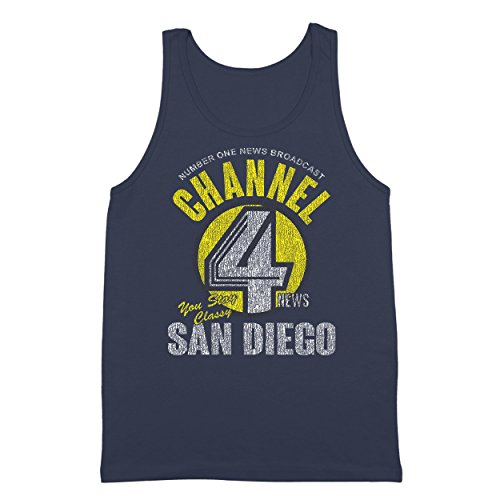 Channel 4 News Funny Anchor Channel San Diego Anchorman Cool Comedy Humor Mens Tank Top X-Large - In San Outlets Diego