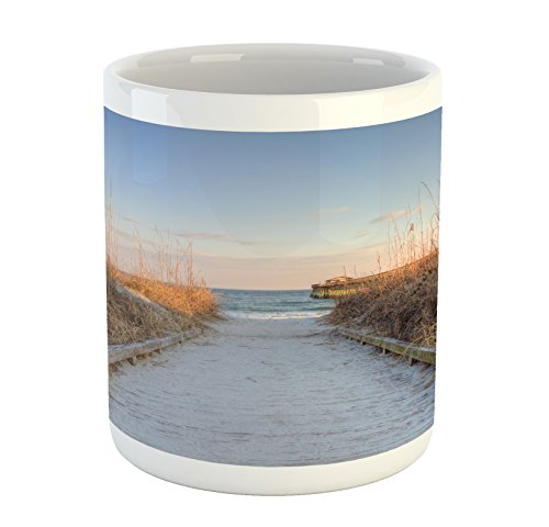 Lunarable Beach Mug, Sunset Sea Oats on Atlantic Coast Myrtle Beach State Park Beach South Carolina, Printed Ceramic Coffee Mug Water Tea Drinks Cup, Pale Brown Blue