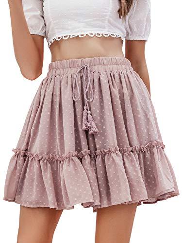 Season 4 Women's Dot Floral Print A line Skirt High Waist Ruffle Mini Skirts with Tassels Pink,M